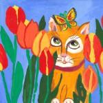 Кот и тюльпаны. Салмаш